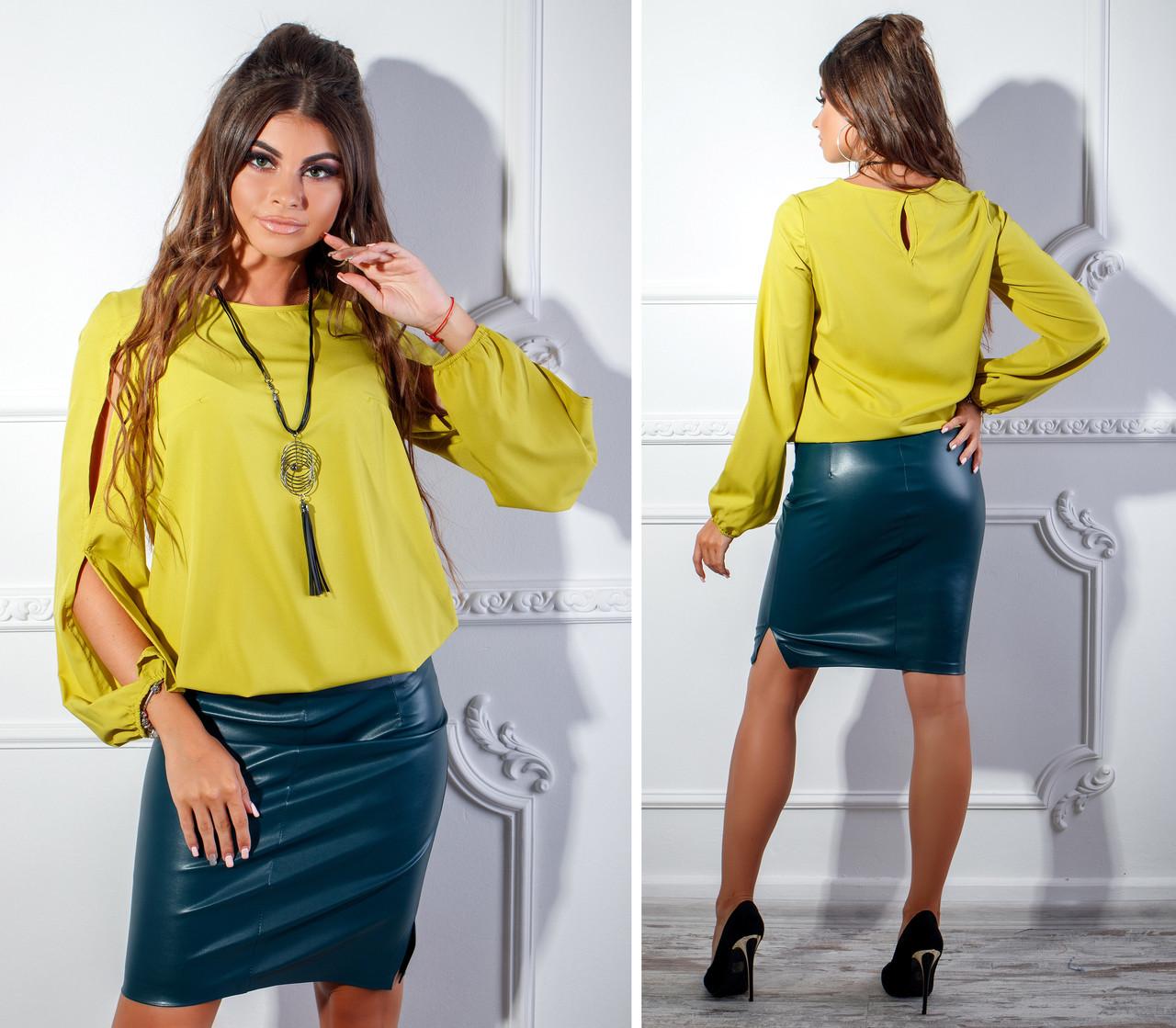 968f0c2e4c1 Оливковая блузка из софта с украшением в комплекте и разрезами на рукавах -  Стильная женская одежда