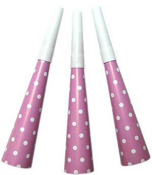 Набор дудок Горох на розовом 8 штук