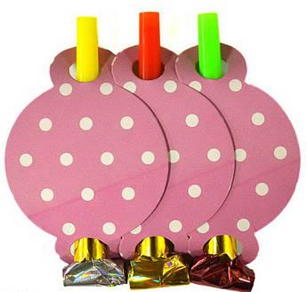 Язычок дудка Горох на розовом 6 штук