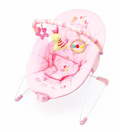 Детский шезлонг с вибрацией 6787 розовый