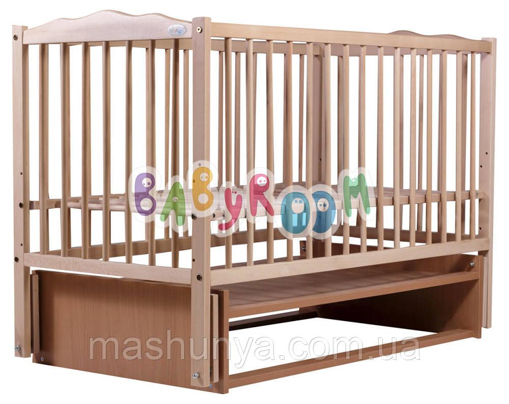 Детская кроватка Babyroom Веселка из бука с маятниковым механизмом качания