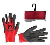 """Перчатка красная вязанная синтетическая, покрытая серым пористым нитрилом на ладони 10"""" INTERTOOL SP-0127"""