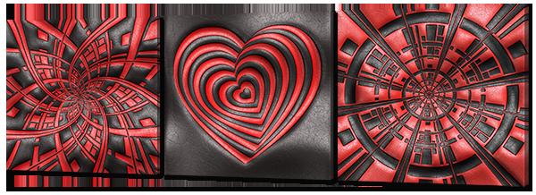 """Модульная картина """"Сердце. Красное на черном"""""""