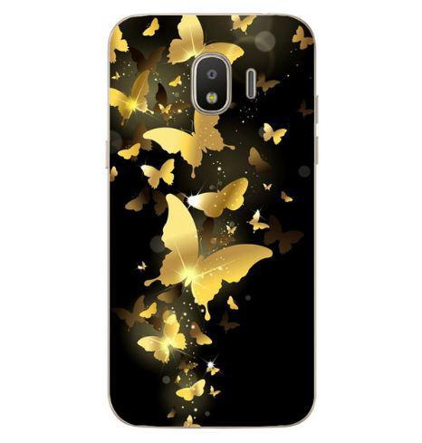 Чехол с картинкой (силикон) для Samsung J4 2018 Galaxy J400 Золотые бабочки