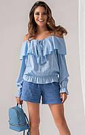Женская блуза из льна голубого цвета. Модель 18904. Размеры 42-46, фото 1