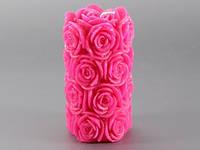 Свеча свадебная розовая Розы Цилиндр