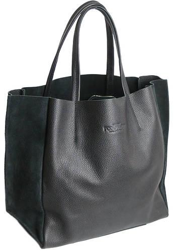 Женская, стильная, кожаная сумка POOLPARTY из коллекции SOHO арт.: soho-black-velour