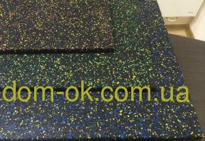 Резиновая плитка с ЭПДМ-гранулами 500*500мм, толщина 12 мм синий