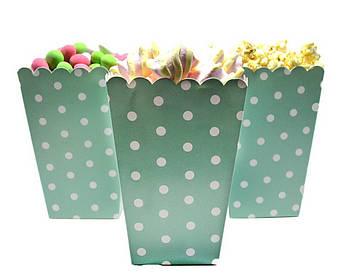 Коробочки для конфет Горох на мятном 5 штук