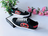Модные женские кеды Gucci New Ace змейка черные (реплика), фото 1