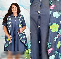 Джинсове сукню сорочка, з 48-62 розмір, фото 1