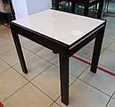 Стіл обідній Слайдер Венге зі склом Бежевий,81,5 (+81,5)*67см, фото 2
