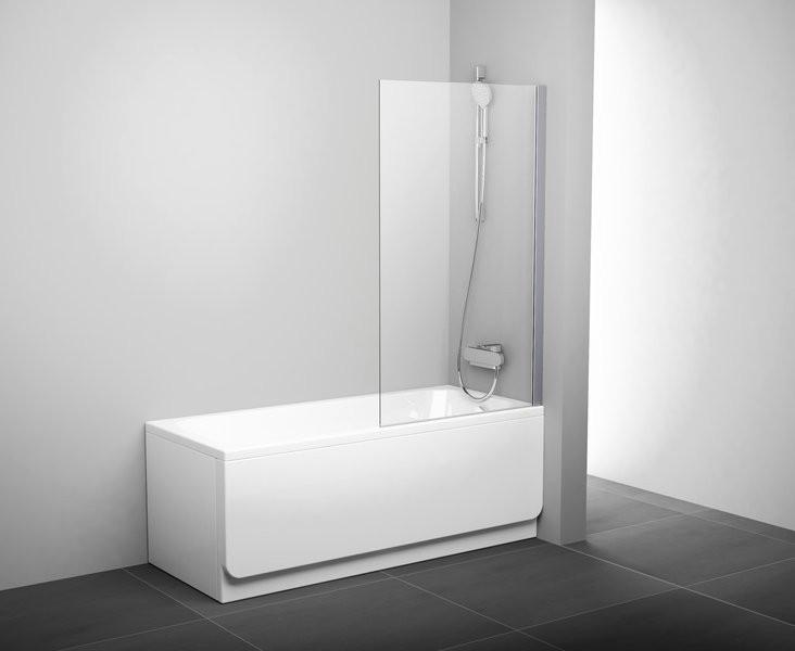Шторка для ванны неподвижная Ravak PVS1-80,сатин+transparent