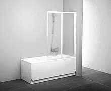 Шторка для ванни складається двоелементна Ravak VS2,105 білий+transparent(скло)