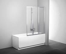 Шторка для ванни складається трьохелементна Ravak VS3-115 білий+transparent(скло)