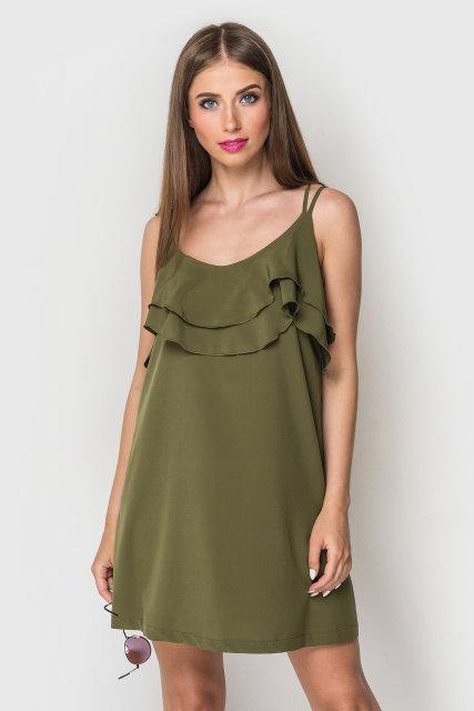 Женское летнее короткое платье сарафан на тонких бретелях хаки