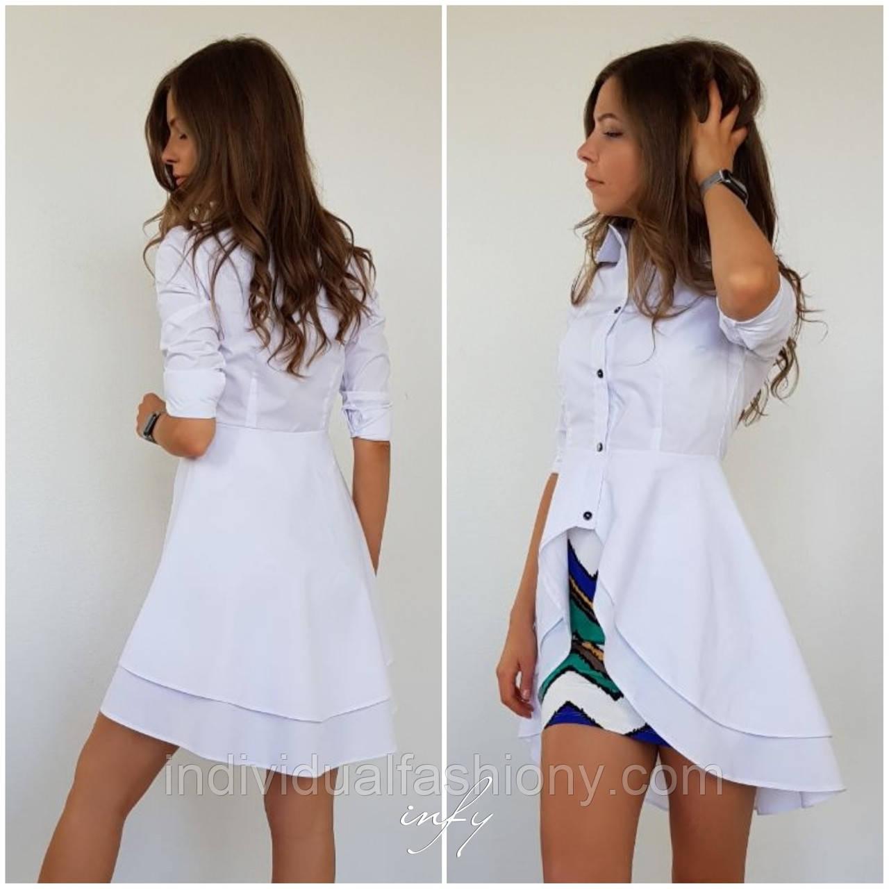 Женская рубашка с удлиненной баской