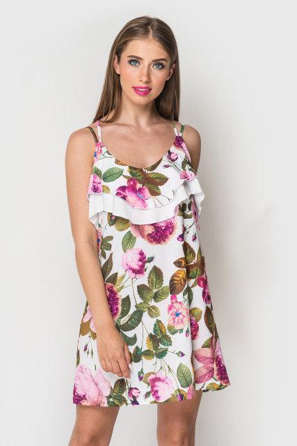 Женское летнее короткое платье сарафан на тонких бретелях белый принт
