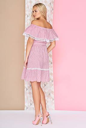 Модное летнее платье короткое с рюшами юбка солнце клеш полосатое малиновое, фото 2