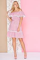 Модное летнее платье короткое с рюшами юбка солнце клеш полосатое малиновое