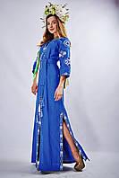 Женское вышитое платье «Мотивы геометрии» синего цвета, фото 1