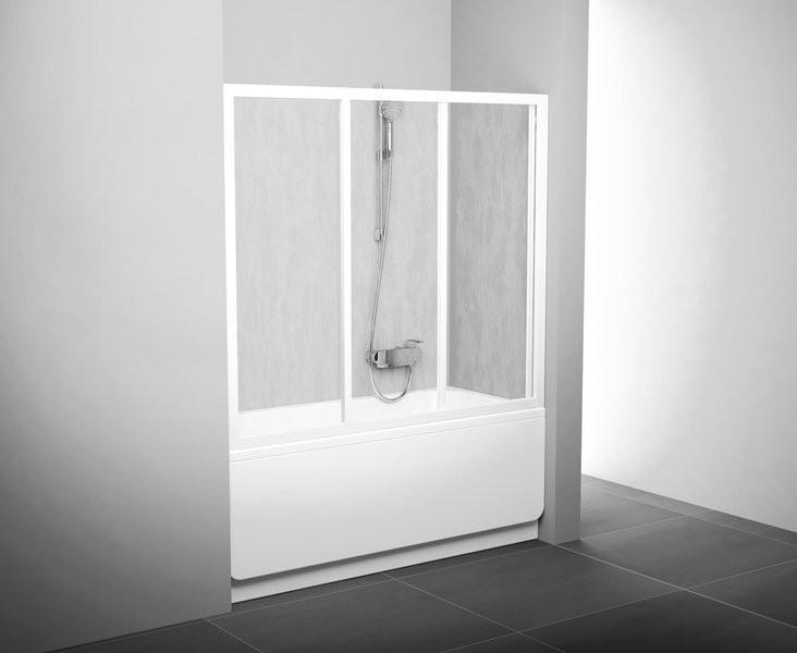 Шторка для ванны раздвижная трёхэлементная Ravak AVDP3-150 белый+rain(полистирол)