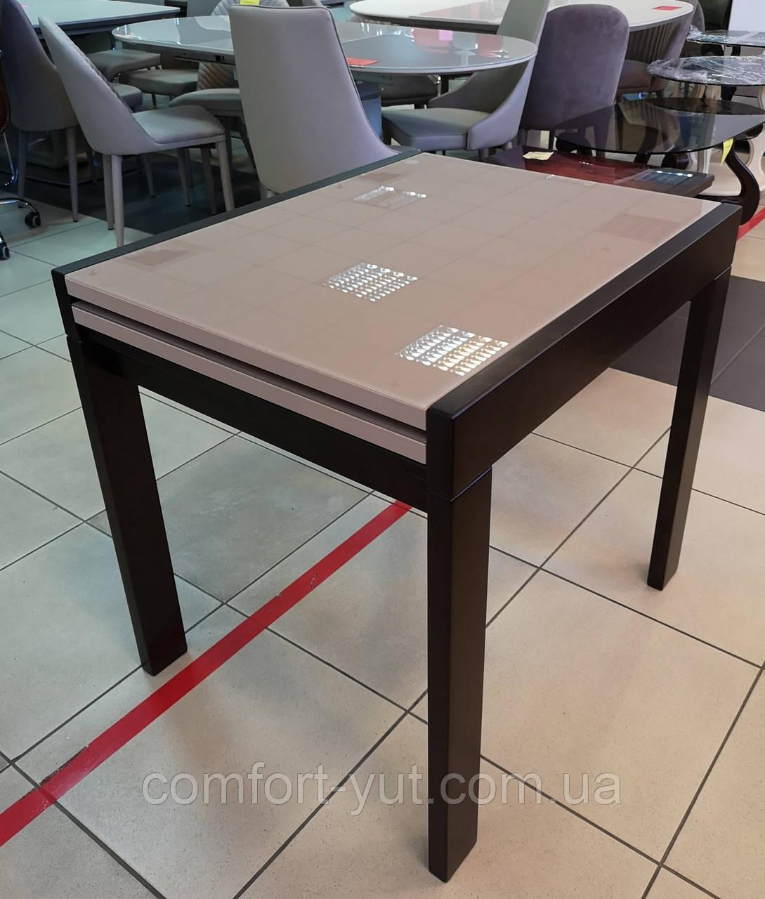 Стіл обідній Слайдер Горіх зі склом Латте, 81,5(+81,5)*67см