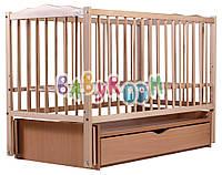 Детская кроватка Дубок Веселка из бука с маятником и ящиком, фото 1