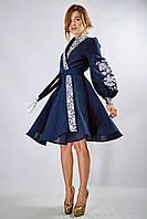 Вышитое платье-халат «Жар-птиця» темно-синего цвета, фото 1