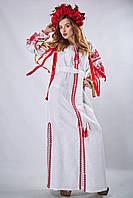 Женское платье с вышивкой «Фантазия» белого цвета, фото 1
