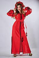 Женское платье с вышивкой «Фантазия» красного цвета, фото 1