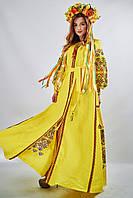 Вышитое платье в бохо-стиле «Фортуна» желтого цвета, фото 1