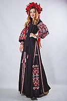 Вышитое платье в бохо-стиле «Фортуна» черного цвета, фото 1