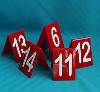 Табличка номер на стол красная