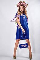Вышитое платье прямого силуэта «Сакура» (синее), фото 1