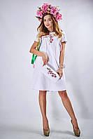 Вышитое платье прямого силуэта «Сакура» (белое), фото 1