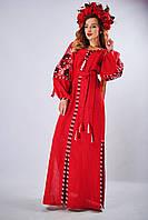 Длинное вышитое платье «Очарование-3» красного цвета, фото 1