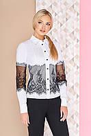 e119f30469c Нарядная женская белая блузка-рубашка с ажурным черным кружевом