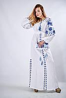 Длинное вышитое платье «Очарование-3» белого цвета, фото 1