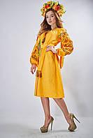 Вышитое платье-миди прямого силуэта из льна мандаринового цвета «Оберіг», фото 1