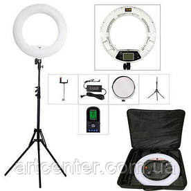 Лампа кольцевая для визажиста, лампа для фотографа (модель FE-480ii c пультом белая)