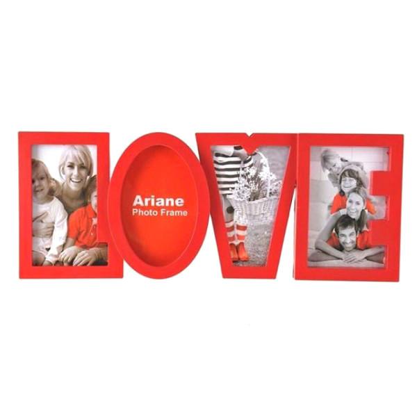 Фоторамка или рамка для фото, купить мультирамку коллаж из фотографий на стену Youngpig «LOVE» 40х17х2 см. красная (981)