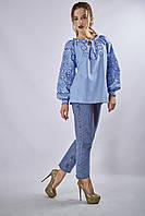 Женская вышитая блуза «Верховина» (лазурная), фото 1