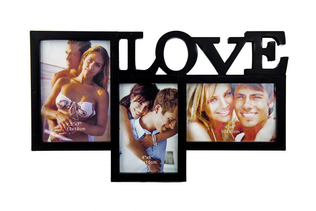 Фоторамка или рамка для фото, купить мультирамку коллаж из фотографий на стену Youngpig «Love»  40х24х2 см. черная (711)
