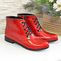 Ботинки женские красные лаковые на шнуровке, фото 1