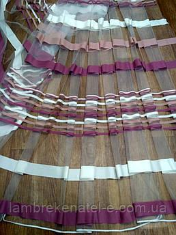 Тюль полоски цветные розово-сиреневая пудра