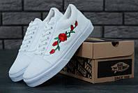 "Кеды унисекс текстильные Vans Old Skool Roses White  ""Белые  с розами"" р. 4.5-11 (35-46)"