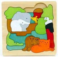 Деревянная Игрушка Развивающий Пазл Вкладыш Уровни 3D Животные, 0537, 005885, фото 1