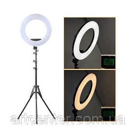 Лампа кольцевая для визажиста, лампа для фотографа (модель FE-480ii c пультом черная)