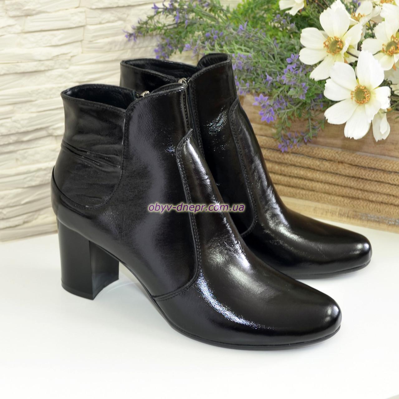 Женские классические лаковые зимние полуботинки на невысоком каблуке